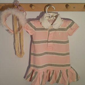 Ralph Lauren Size 9 Months Pink Striped Dress